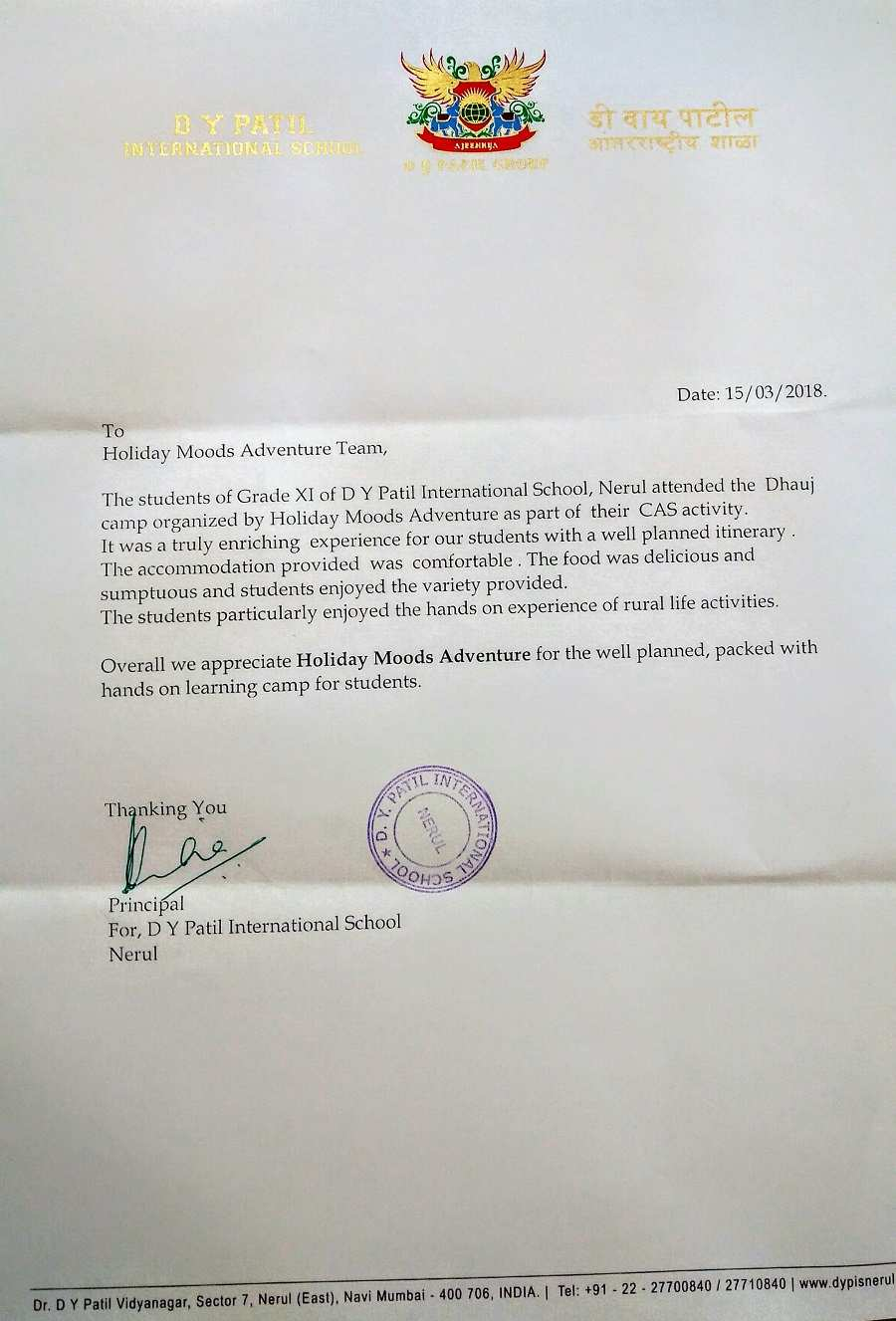 DY Patil Int'l school appreciation letter 2018